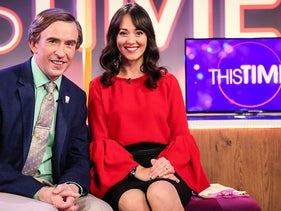 """Steve Coogan as Alan Partridge and Susannah Fielding as Jennie Gresham in the BBC's """"This Time with Alan Partridge."""""""