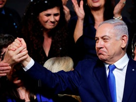 Israeli Prime Minister Benjamin Netanyahu after addressing supporters at his Likud Party headquarters in Tel Aviv on election night early on April 10, 2019
