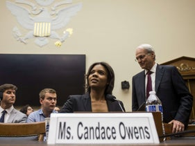 Candace Owens of Turning Point USA and Mort Klein of ZOA arrive at a House Judiciary Committee hearing discussing the rise of white nationalism on Capitol Hill. April 9, 2019