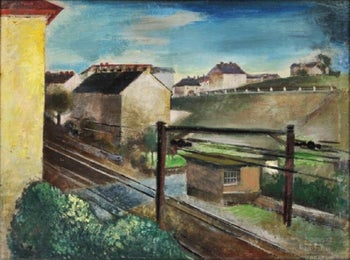 "Friedl Dicker's ""Train Station,"" painted sometime before her death at Auschwitz in 1944."