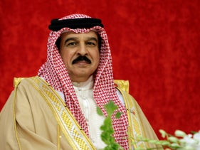 FILE Photo: Bahrain's King Hamed bin Isa Al Khalifa smiles during a palace ceremony in Sakhir, Bahrain, March 20, 2012.