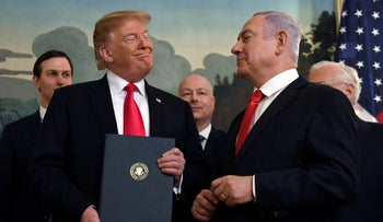 U.S. President Donald Trump and Prime Minister Benjamin Netanyahu after signing a proclamation in the Diplomatic Reception Room at the White House in Washington, March 25, 2019.