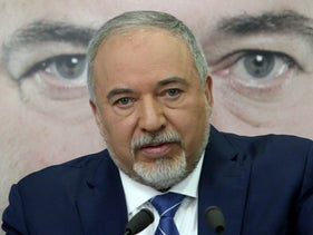 File photo: Yisrael Beiteinu head Avigdor Lieberman at the launch of his party's 2019 election campaign, January 2019.