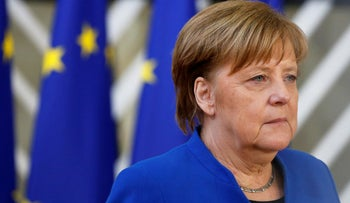 German Chancellor Angela Merkel arrives at an extraordinary European Union leaders summit to discuss Brexit, in Brussels, Belgium, April 10, 2019.