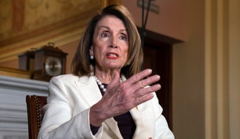 Speaker of the House Nancy Pelosi, D-Calif., during an interview with The Associated Press in her office at the Capitol in Washington, April 10, 2019.