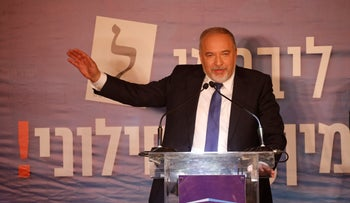 Avigdor Lieberman at a Yisrael Beiteinu meeting and Passover toast, April 15, 2019.