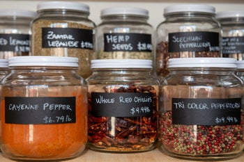Spices on sale at Precycle in Brooklyn, where customers bring in containers to purchase items.