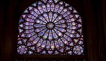 View of the north rose window (rosace) of Notre-Dame de Paris Cathedral in Paris October 18, 2012