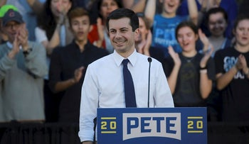 Democratic presidential candidate Pete Buttigieg speaks at a campaign event in Des Moines, Iowa, U.S., April 16, 2019