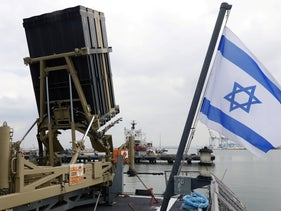 File photo: An Iron Dome interceptor system is seen on an Israeli missile boat at a navy base in Haifa, Israel, February 12, 2019.