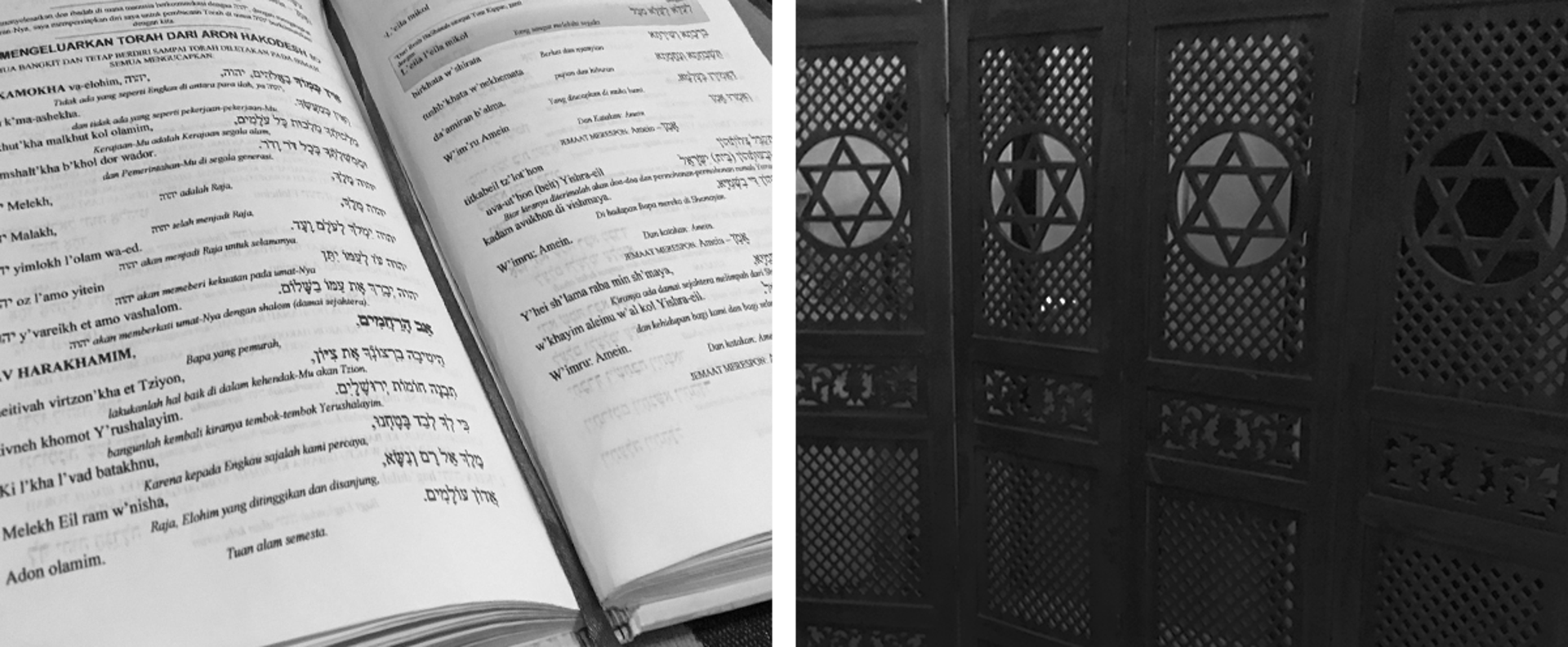 (L) Siddurim translated from Hebrew to Bahasa Indonesia. (R) The wooden divider shields the synagogue hidden in the suburb of Jakarta. Neha Banka