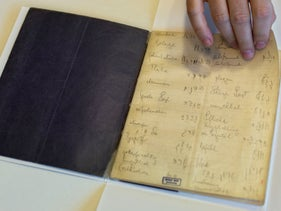 File photo: A library official shows Franz Kafka's Hebrew vocabulary notebook at Israel's National Library in Jerusalem, October 5, 2014.