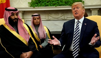 File photo: U.S. President Donald Trump welcomes Saudi Arabia's Crown Prince Mohammed bin Salman in the Oval Office at the White House in Washington, U.S. March 20, 2018.