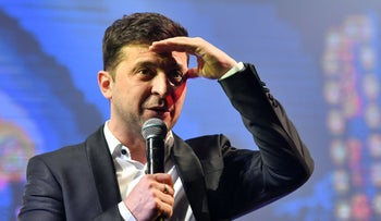 "Volodymyr Zelensky speaks as he performs with his ""95th block"" comedy group in Brovary, near Kiev, on March 29, 2019."