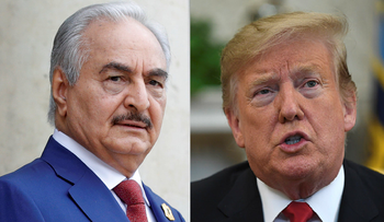 Khalifa Haftar in 2008 and Donald Trump in 2019.