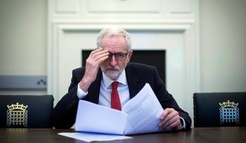 File photo: Britain's Labour leader Jeremy Corbyn in his office in his parliamentary office in London, April 2, 2019.