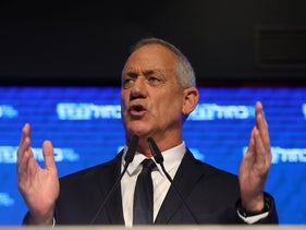 Benny Gantz delivers a premature victory speech after the Israeli election, Tel Aviv, April 9, 2019.