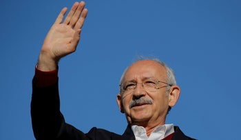 Kemal Kilicdaroglu greets his supporters during a rally in Istanbul, Turkey March 24, 2019.