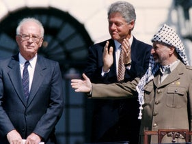 Yasser Arafat, Yitzhak Rabin and Bill Clinton during the signing of the Oslo Accords, September 13, 1993.