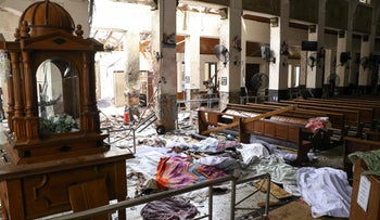 The aftermath of an explosion at St. Anthony's Shrine, Colombo, Sri Lanka, April 21, 2019.