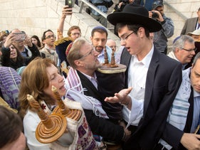 FILE PHOTO: Clashes between ultra-Orthodox rabbis and Conservative and Reform activists at the Western Wall, November 2, 2016.