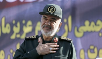 Hossein Salami deputy commander of the Islamic Revolutionary Guard Corps attends a public funeral ceremony for those killed during an attack on a military parade, September 24, 2018.
