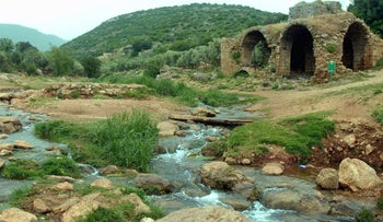 Remains of a flour mill along the Tzalmon Stream, in the Upper Galilee, in northern Israel.