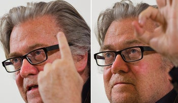 Former White House strategist Steve Bannon speaks during a press conference at the Foreign Press Club in Rome, Tuesday, March 26, 2019