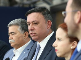 Avi Gabbay (center), with the leadership of the Labor Party, Jerusalem, April 15, 2019.