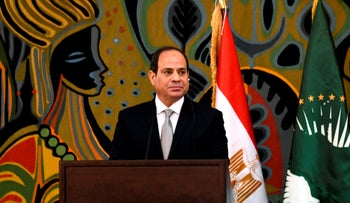 Egypt's President and current Chairperson of the African Union, Abdel Fattah al-Sisi, at a joint press conference with Senegalese President at the Presidential Palace in Dakar, April 12, 2019.