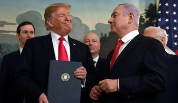 President Trump and Prime Minister Netanyahu after the signing of a presidential order declaring U.S. recognition of Israeli sovereignty in Golan, March 25, 2019.