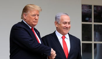 File Photo: President Donald Trump welcomes visiting Israeli Prime Minister Benjamin Netanyahu to the White House in Washington, March 25, 2019.