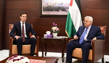 File Photo: Palestinian president Mahmoud Abbas (R) meeting with US White House aide Jared Kushner in the West Bank city of Ramallah, August 24, 2017.