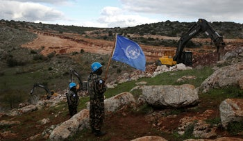 File photo: UN peacekeepers observe Israeli excavators attempt to destroy tunnels built by Hezbollah, near the southern Lebanese-Israeli border village of Mays al-Jabal, Lebanon, December 13, 2019.
