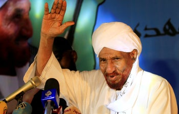 FILE PHOTO: Sudanese leading opposition figure Sadiq al-Mahdi addresses his supporters after he returned from nearly a year in self-imposed exile in Khartoum, Sudan December 19, 2018.