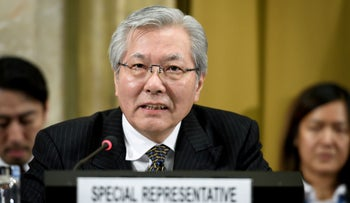 File photo: UN Special Representative Tadamichi Yamamoto delivers a speech during the UN conference on Afghanistan at the UN Office in Geneva, Switzerland, November 28, 2018.