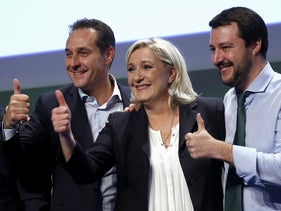 Italian far-right leader Matteo Salvini (R), French far-right leader Marine Le Pen (C) and Austrian far-right leader Heinz-Christian Strache at the 'Europe of Nations and Freedom meeting in Milan. Jan 28, 2016