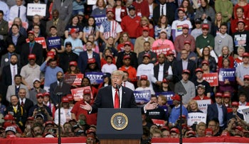 President Donald Trump speaks at a Make America Great Again rally Saturday, April 27, 2019, in Green Bay, Wisc.