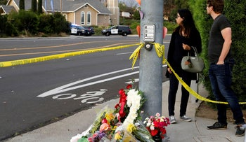A makeshift memorial a block away from the Chabad synagogue in Poway, north of San Diego, where a gunman opened fire killing one congregant and injuring others. April 27, 2019