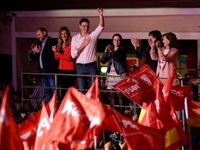 Spanish Prime Minister and Socialist Party candidate Pedro Sanchez gestures to supporters gathered at the party headquarters waiting for results of the general election in Madrid, Sunday, April 28, 2019.