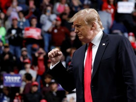 U.S. President Donald Trump at a Make America Great Again rally at the Resch Center Complex in Green Bay, Wisconsin, U.S. April 27, 2019