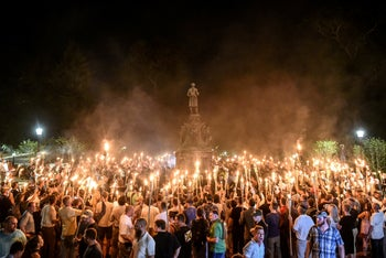 White nationalists at a torch-lit march on the grounds of the University of Virginia ahead of the Unite the Right Rally in Charlottesville. August 11, 2017
