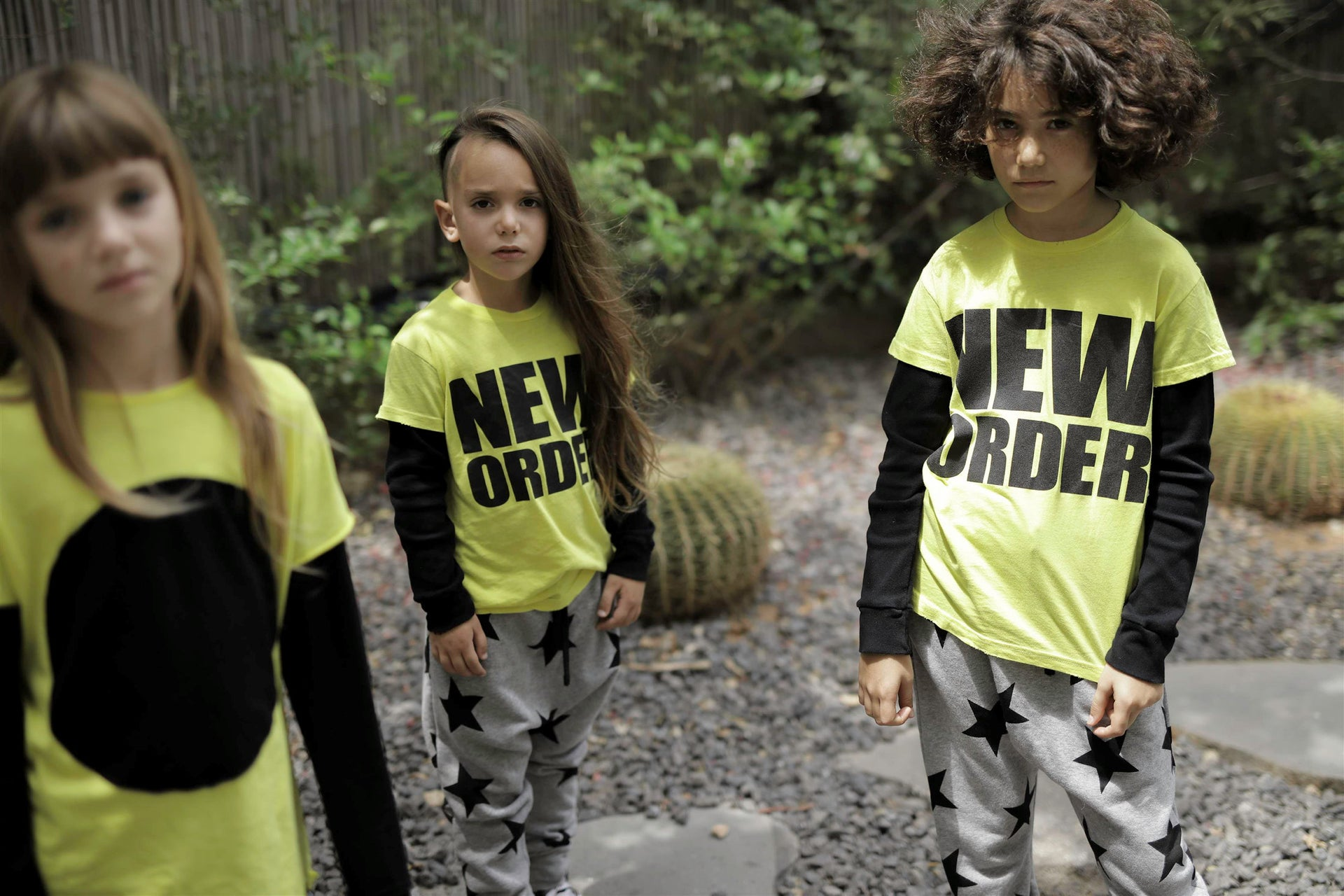 Children wearing clothes from the Celinununu collection, a joint enterprise of Israeli designers Iris Adler and Tali Milchberg, together with Canadian singer Celine Dion.