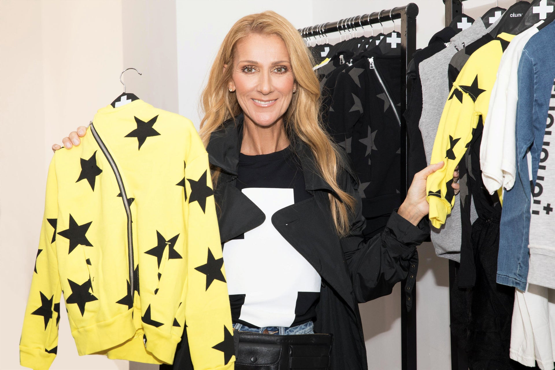 Pop superstar Celine Dion presenting items from Celinununu's collection.