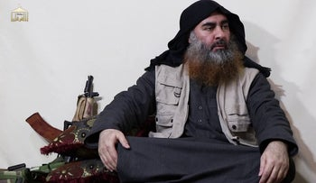 Islamic State leader Abu Bakr al-Baghdadi is seen in video recording released by the group's Al Furqan Network on April 29, 2019.