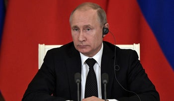 Russian President Putin gives a news conference following talks with Turkish President Erdogan, Moscow, April 8, 2019.