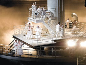 """A scenes from """"The Passenger.""""  The opera is set on two levels – on a ship's deck and in the Auschwitz of memory."""