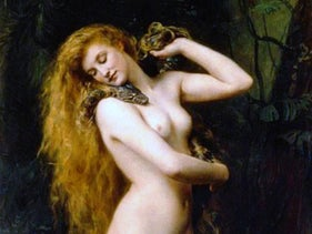 Painting of Lilith by John Collier, evidently conflating a number of origin myths