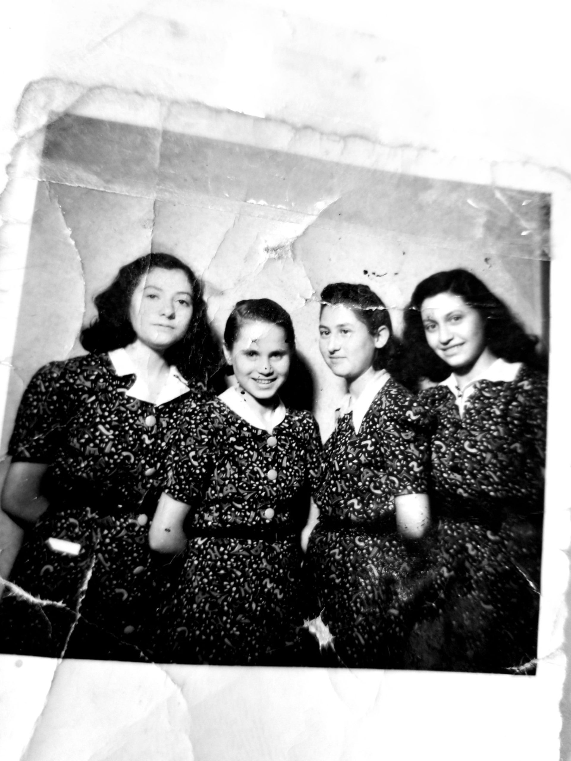 Judit Ornstein, far right, photographed with three other young Jewish women, including Jutka (Judit) Greenbaum and Rosi Eisler, who lived with her in Budapest.