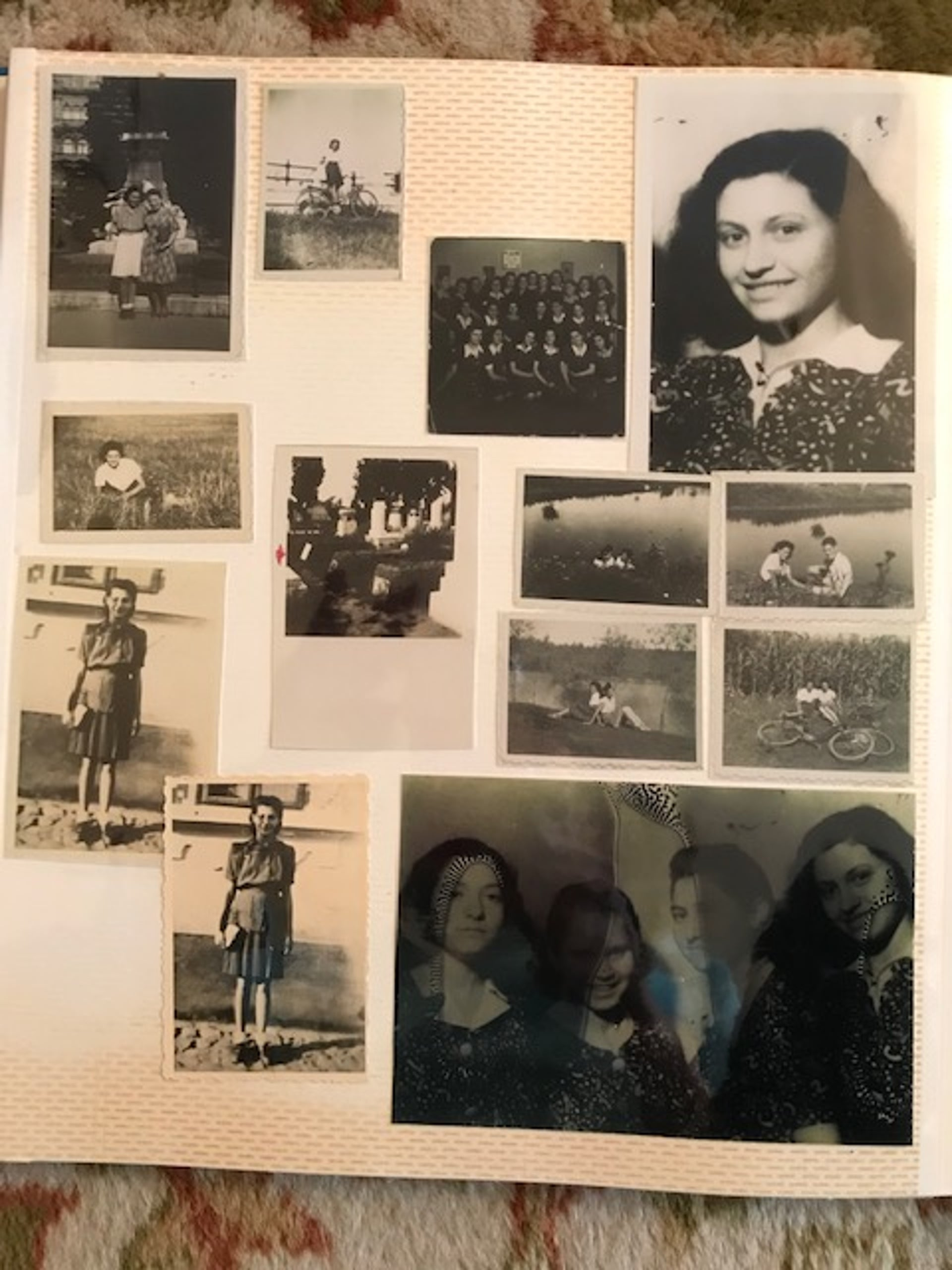 A family album containing images of Judit Ornstein. Paul Ornstein kept the photos in his jacket pocket while in the forced labor battalion.
